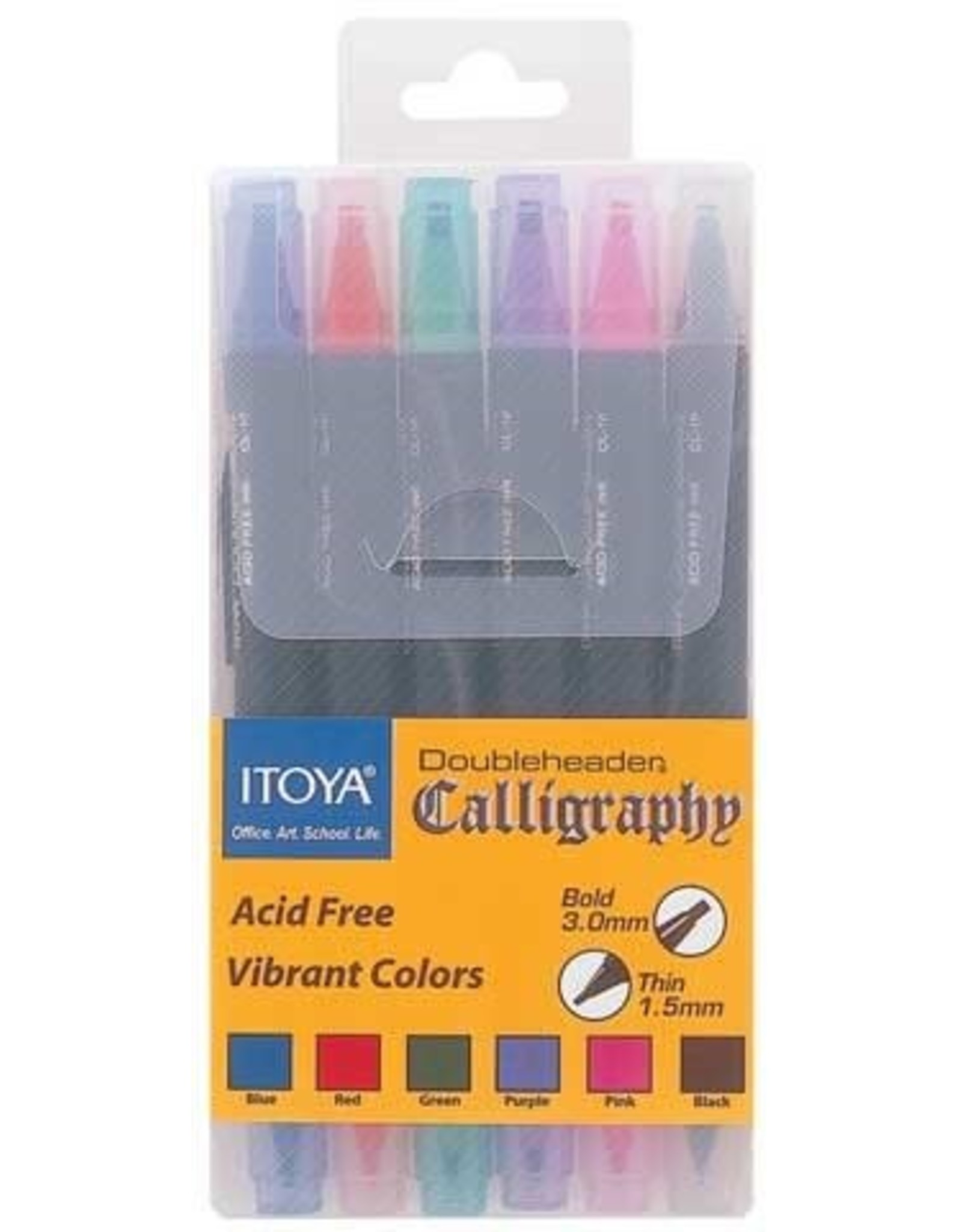 Itoya CALLIGRAPHY MARKER-DOUBLE ENDED, 6-PIECE POLY BOX SET