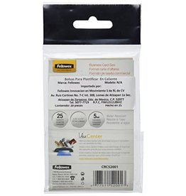 Fellowes LAMINATING POUCH-BUSINESS CARD GLOSSY 5MIL 25/PACK