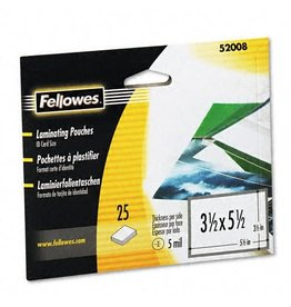 Fellowes LAMINATING POUCH-INDEX CARD 5MIL 25/PACK