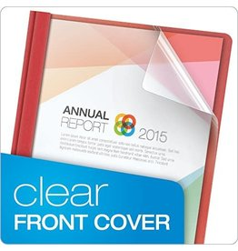 TOPS Products REPORT COVER-WITH FASTENERS LEATHERINE/CLEAR FRONT, RED