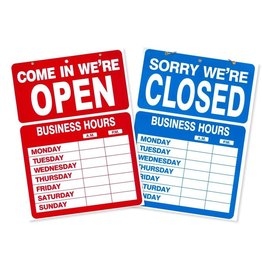 IDENTITY GROUP/US STAMP & SIGN SIGN KIT-BUSINESS HOURS 10.5X14.5 DOUBLE-SIDED