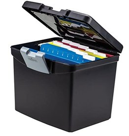 Storex FILE-PORTABLE, LETTER WITH TOP ORGANIZER, BLACK