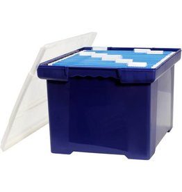 Storex FILE TOTE-LETTER/LEGAL, BLUE WITH CLEAR LID