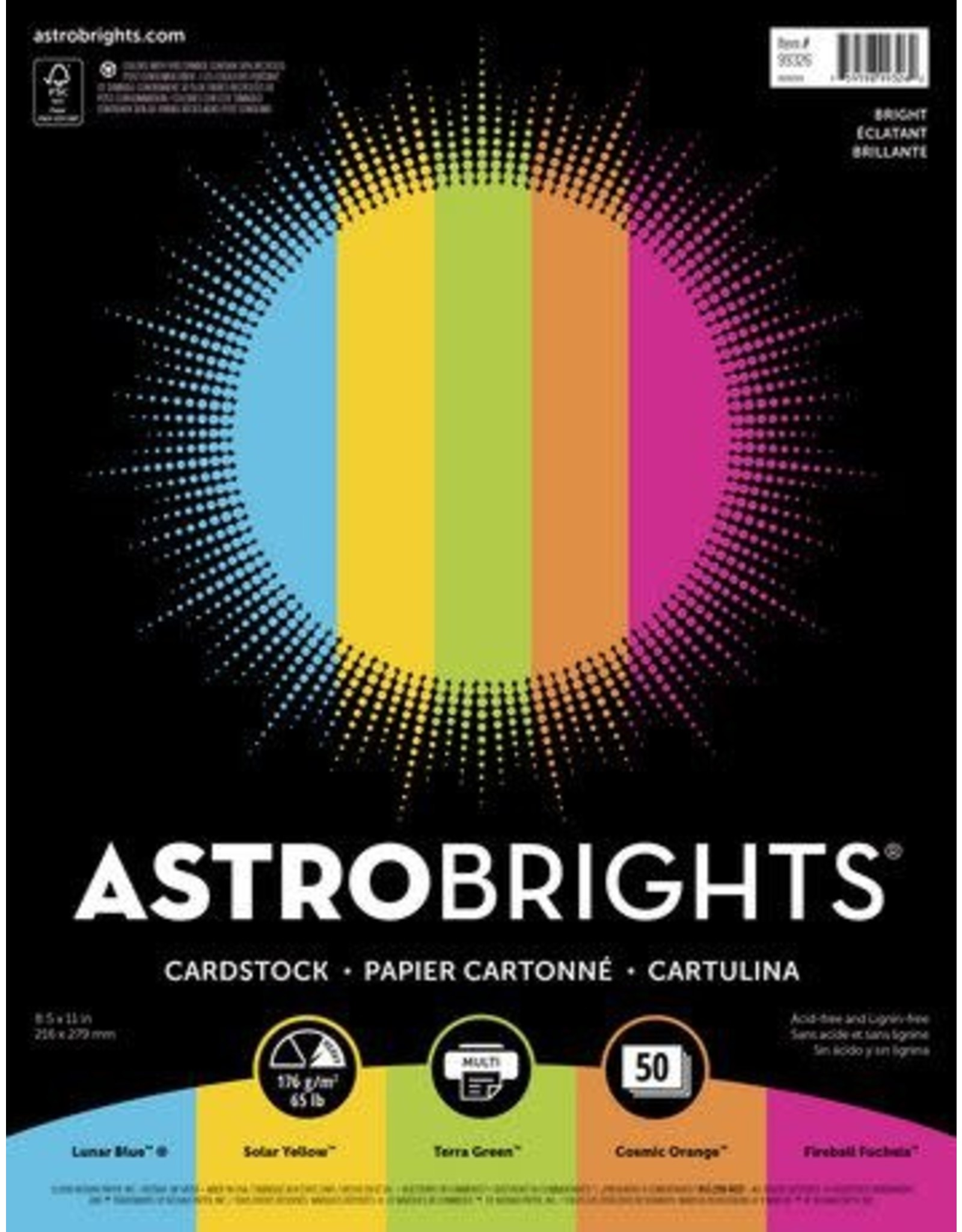 Spicers COVER STOCK-ASTROBRIGHTS LETTER 65LB, 5 COLOUR 50/PACK