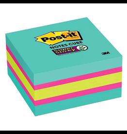Post-it NOTES-POST-IT CUBE, 3X3 SUPER STICKY, GREEN, FUCHSIA, AQUA