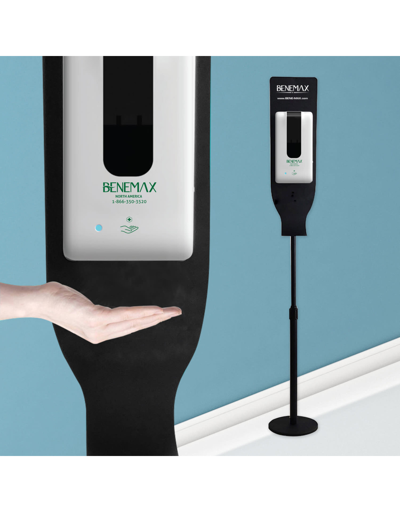 Benemax Benemax Total Protection Touchless Automatic Hand Sanitizer Dispenser & Stand with 1 X 1L Refill