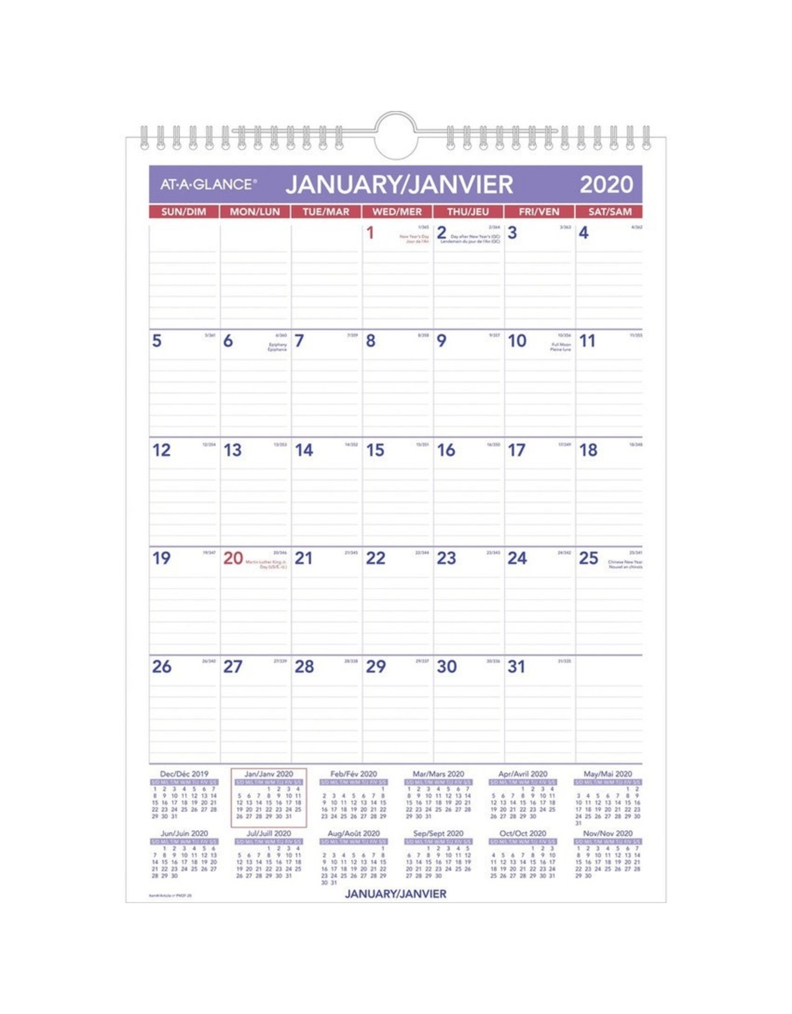 At-A-Glance CALENDAR-WALL MONTHLY WIRE 12X17 BILINGUAL  2021