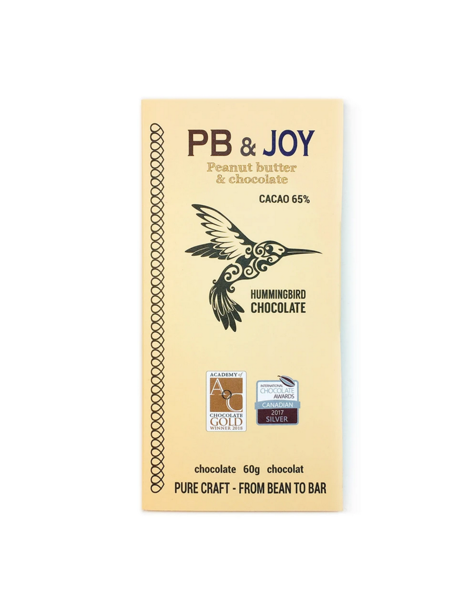 Hummingbird Chocolate Hummingbird Chocolate, PB & Joy, 60g