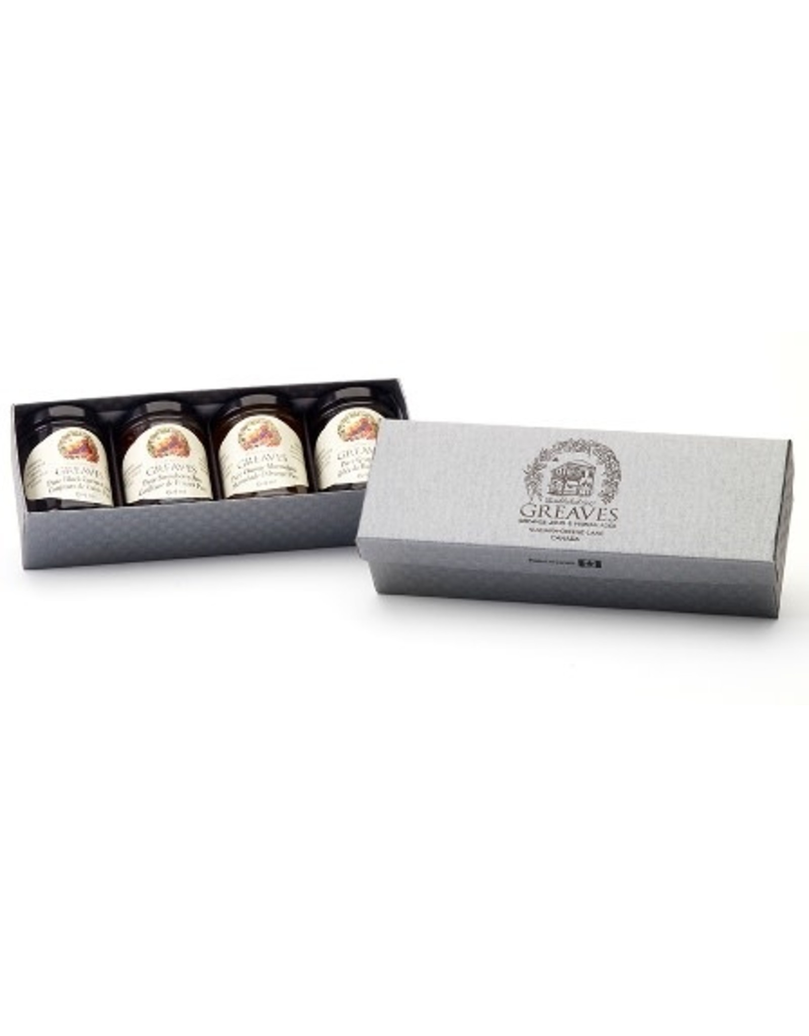 Greaves Jams & Marmalades Ltd. Greaves, Silver Basket Weave Gift Boxes, 4 x 64ml