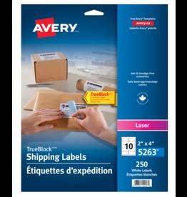 Avery LABELS-SHIPPING TRUEBLOCK WHITE 2X4 250/EV