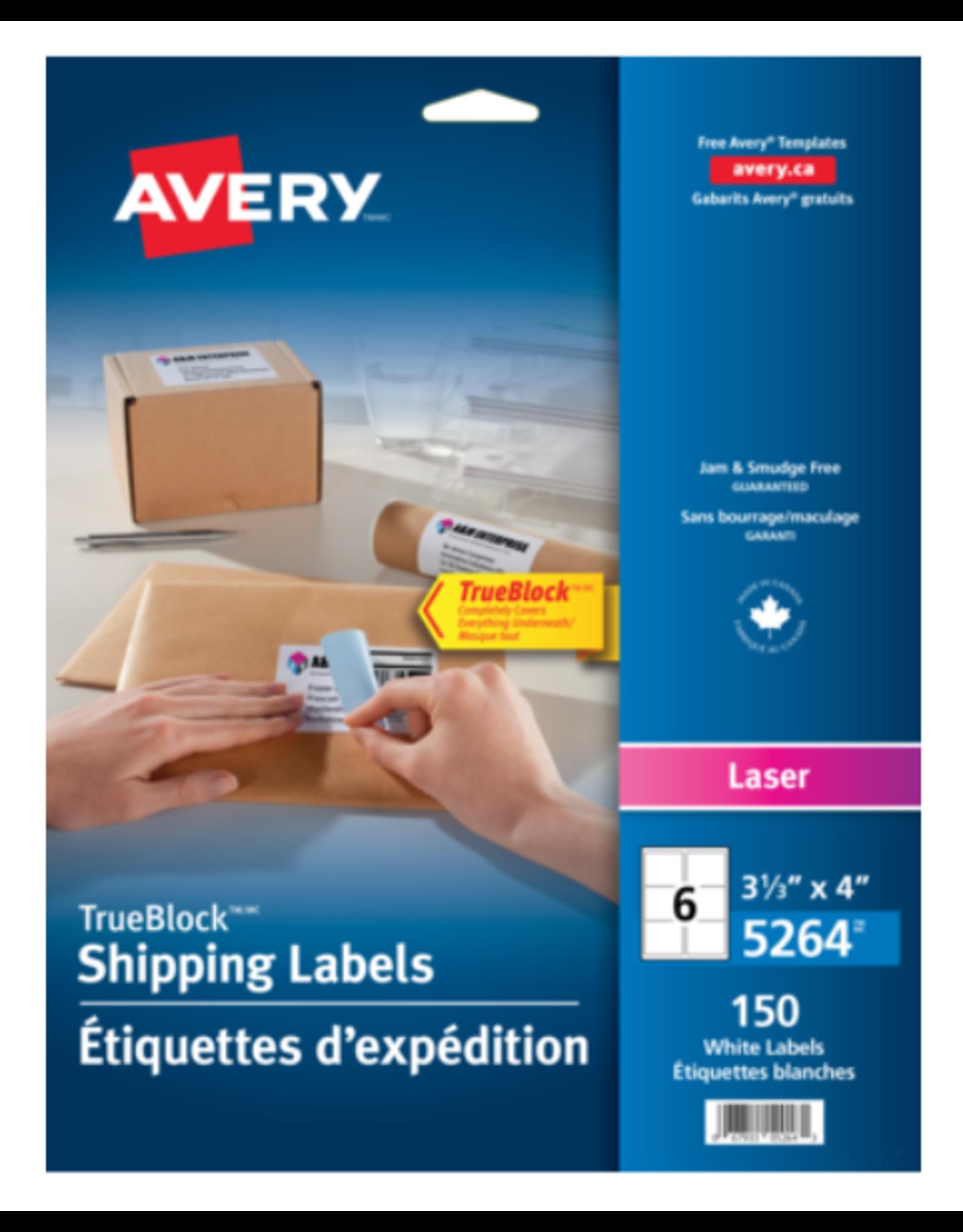 Avery LABELS-SHIPPING TRUEBLOCK WHITE 3-1/3X4 150/EV
