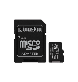 Kingston Technology Kingston Technology 64GB MicroSDXC Canvas 100R A1 C10 Card with Adapter
