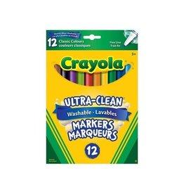 Crayola MARKER SET-CRAYOLA WASHABLE, FINE LINE, 12 CLASSIC COLOURS