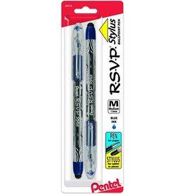 Pentel STYLUS PEN-BALLPOINT R.S.V.P. MEDIUM BLUE, 2/PACK