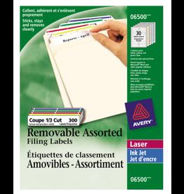Avery LABELS-FILE FOLDER REMOVABLE 3-7/16X2/3 ASSORTED 300/EV