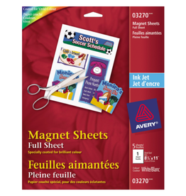 Avery MAGNETIC SHEETS-8-1/2X11 WHITE, 5 SHEETS/PACK