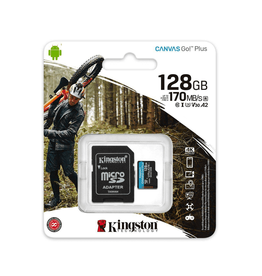 Kingston Technology Kingston Technology Canvas Go! Plus microSDXC 128GB 170R A2 U3 V30 Card & Adapter