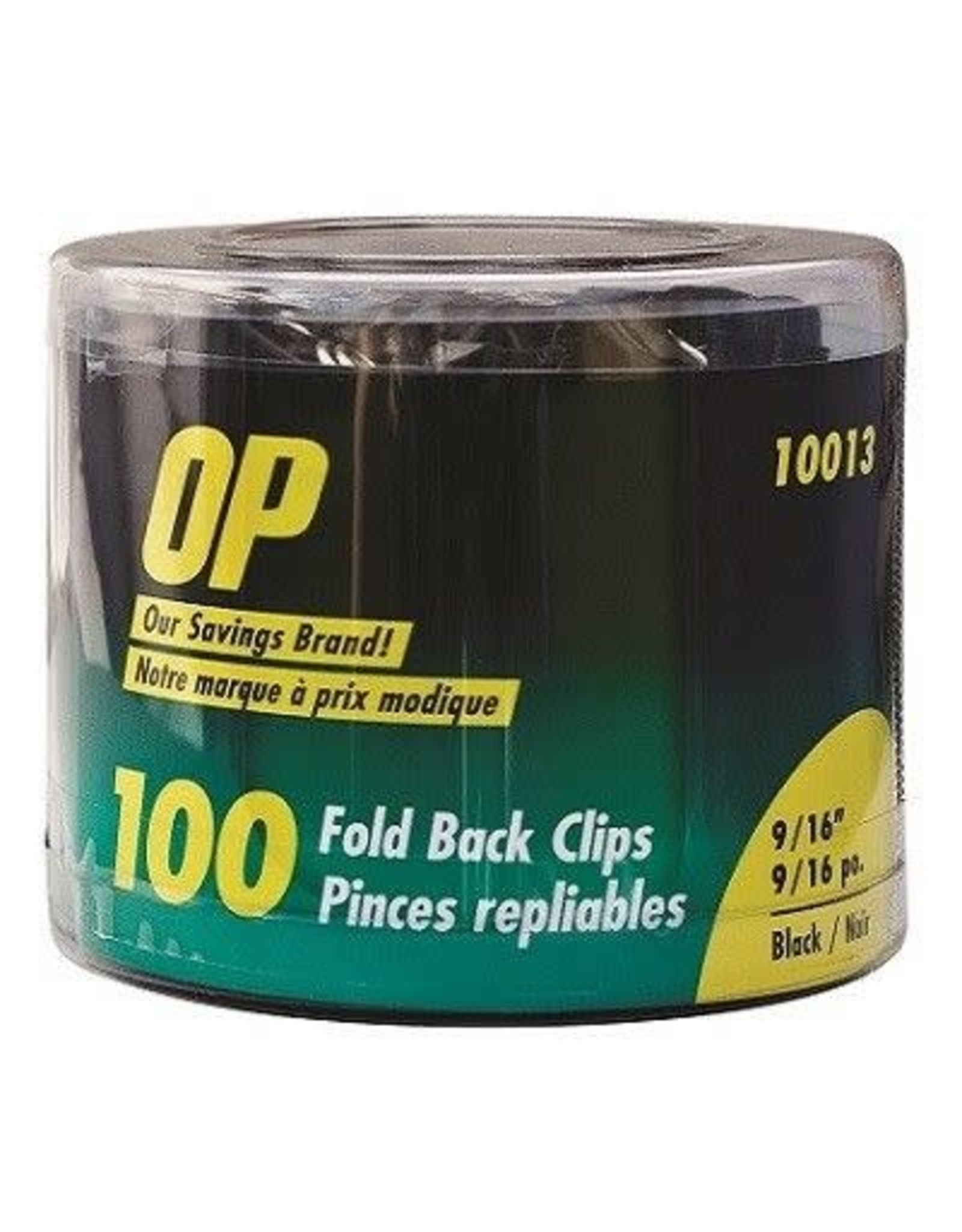 Acme United FOLDBACK CLIPS-9/16'' WIDE 1/4'' CAPACITY, OP BRAND, 100/TUB