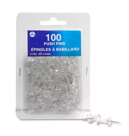 Acme United Acme Push Pins Clear 100/pack