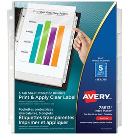 Avery INDEX DIVIDERS/SHEET PROTECTORS-INDEX MAKER, 5 TABS