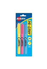 Avery HIGHLIGHTER-PEN STYLE CHISEL TIP, ASSORTED 3/PACK