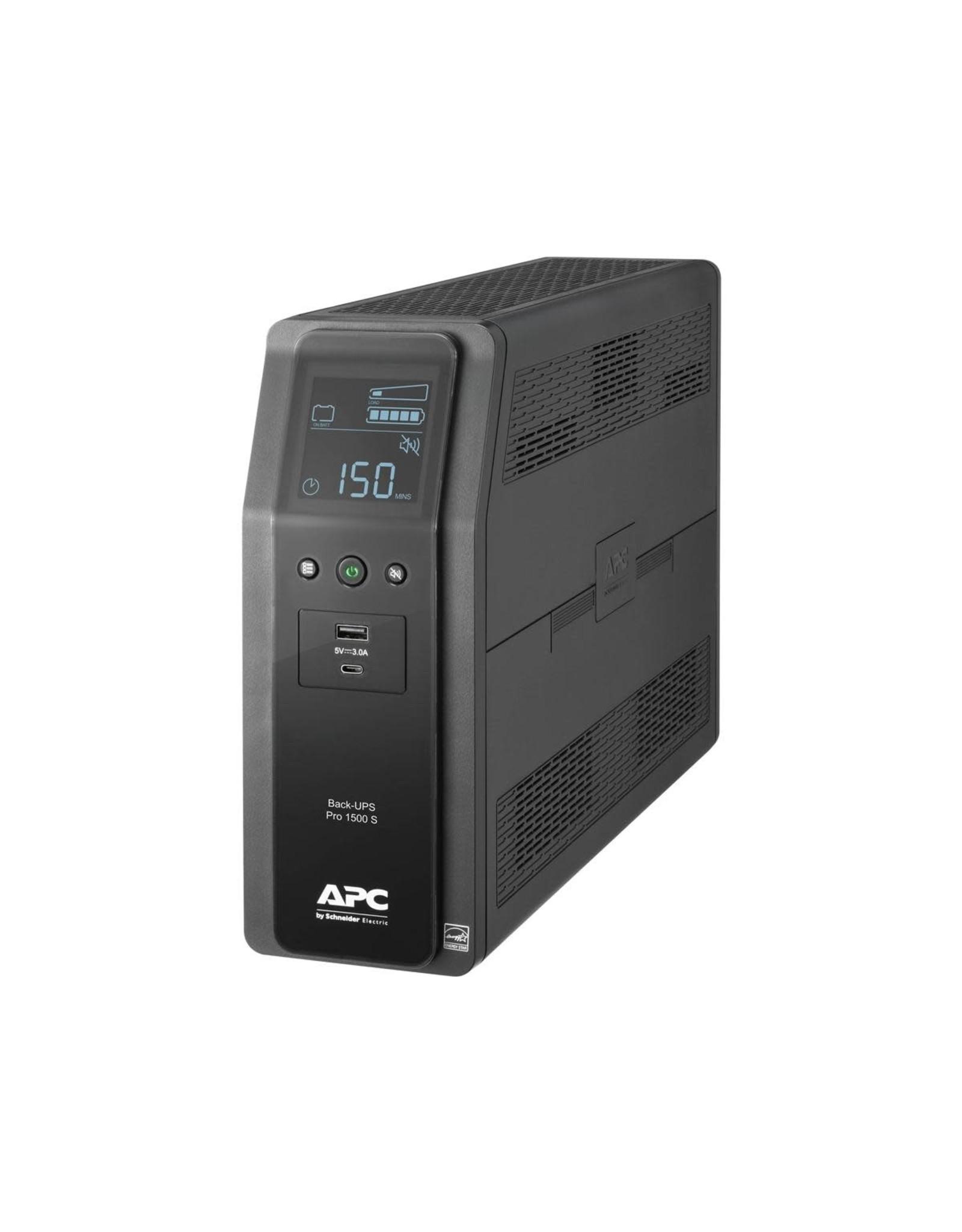 APC APC Back-UPS PRO BR 1500VA, SineWave, 10 Outlets, 2 USB Charging Ports, AVR, LCD interface