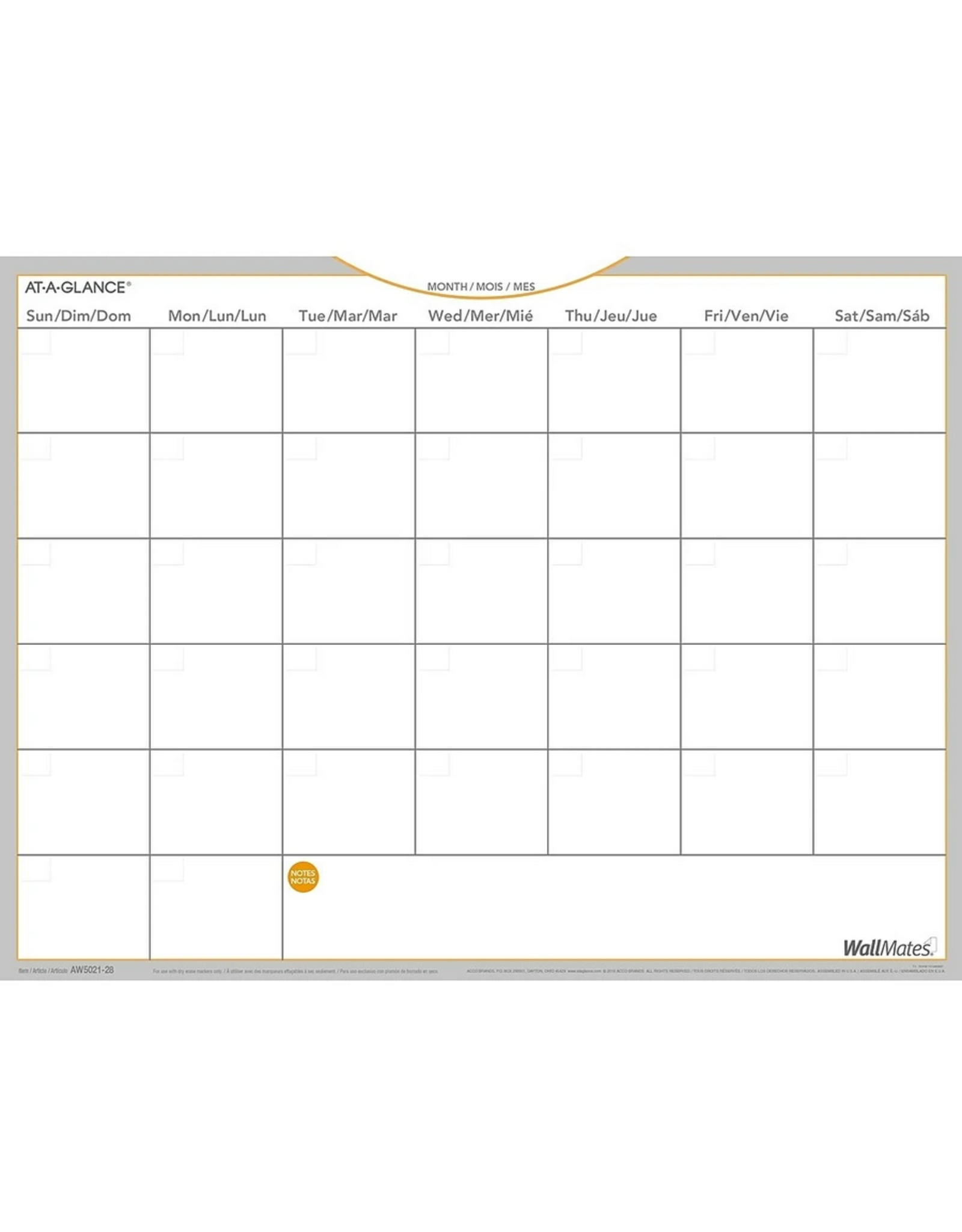 """At-A-Glance At-A-Glance WallMates Self-Adhesive Dry Erase Monthly Calendar, Bilingual, 24"""" x 18"""""""