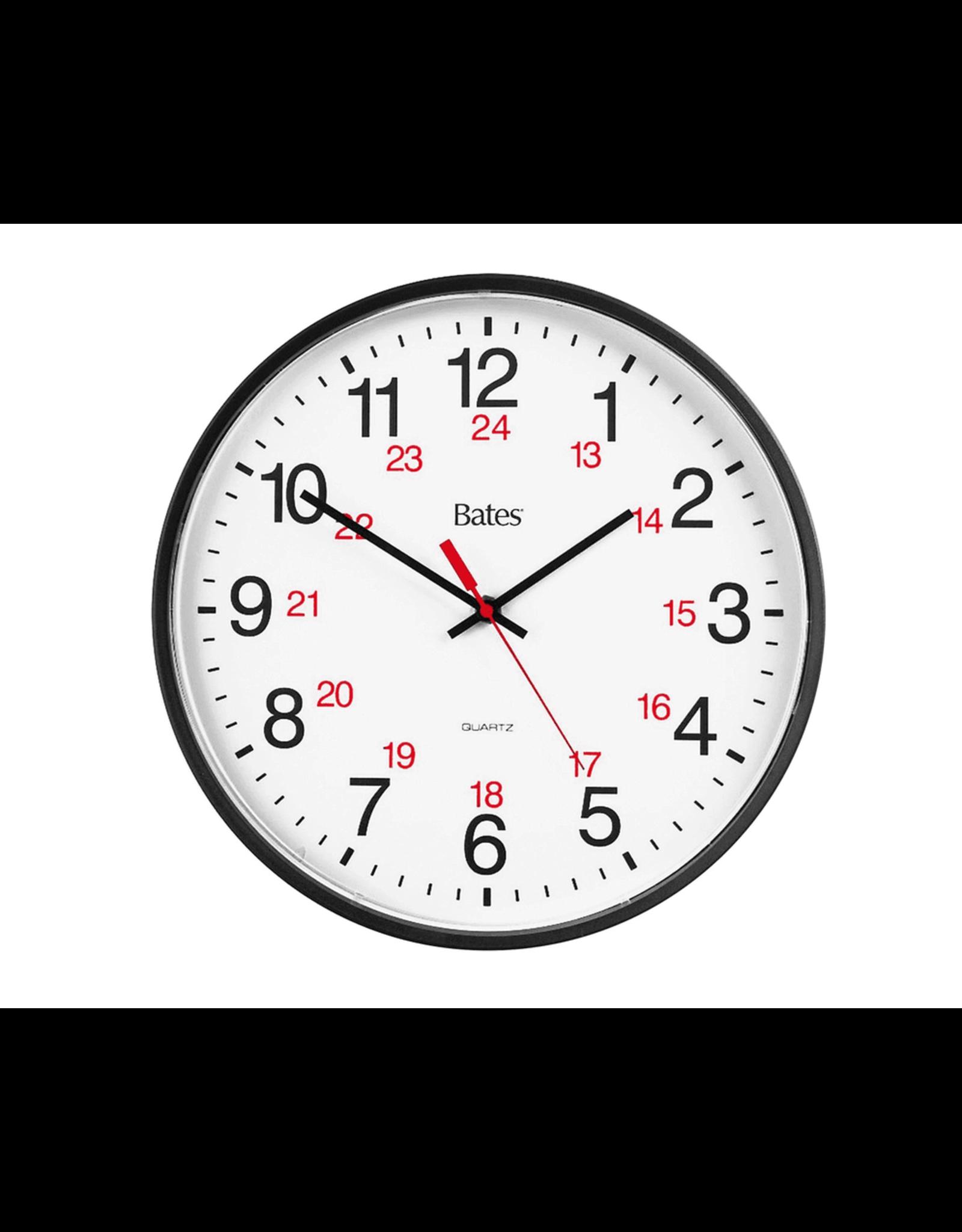"ACCO Brands CLOCK-12"" ROUND, 12/24 HOUR WHITE DIAL/BLACK RIM"