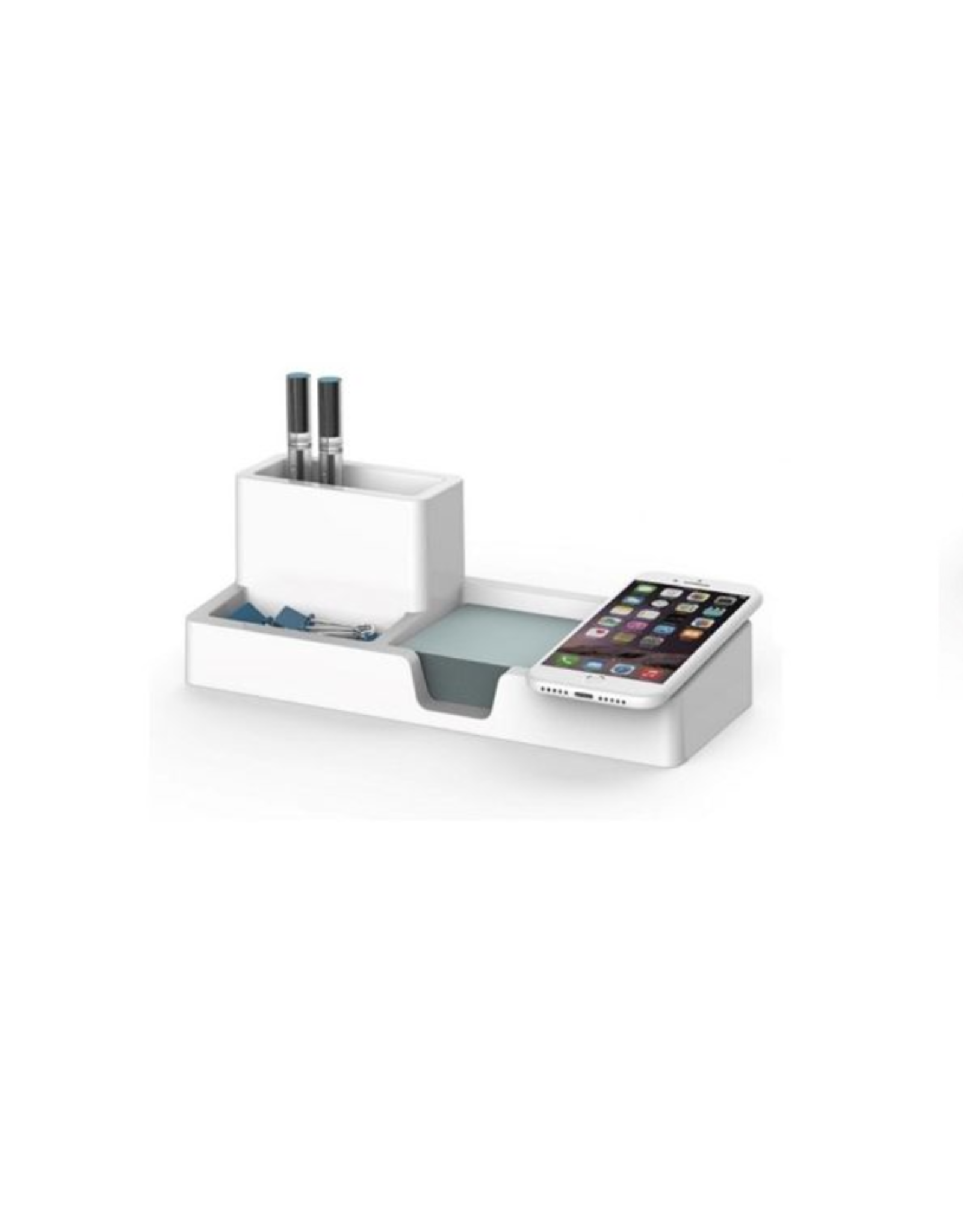 Artistic Products DESK ORGANIZER-SMART CHARGE Qi COMPATIBLE, WHITE