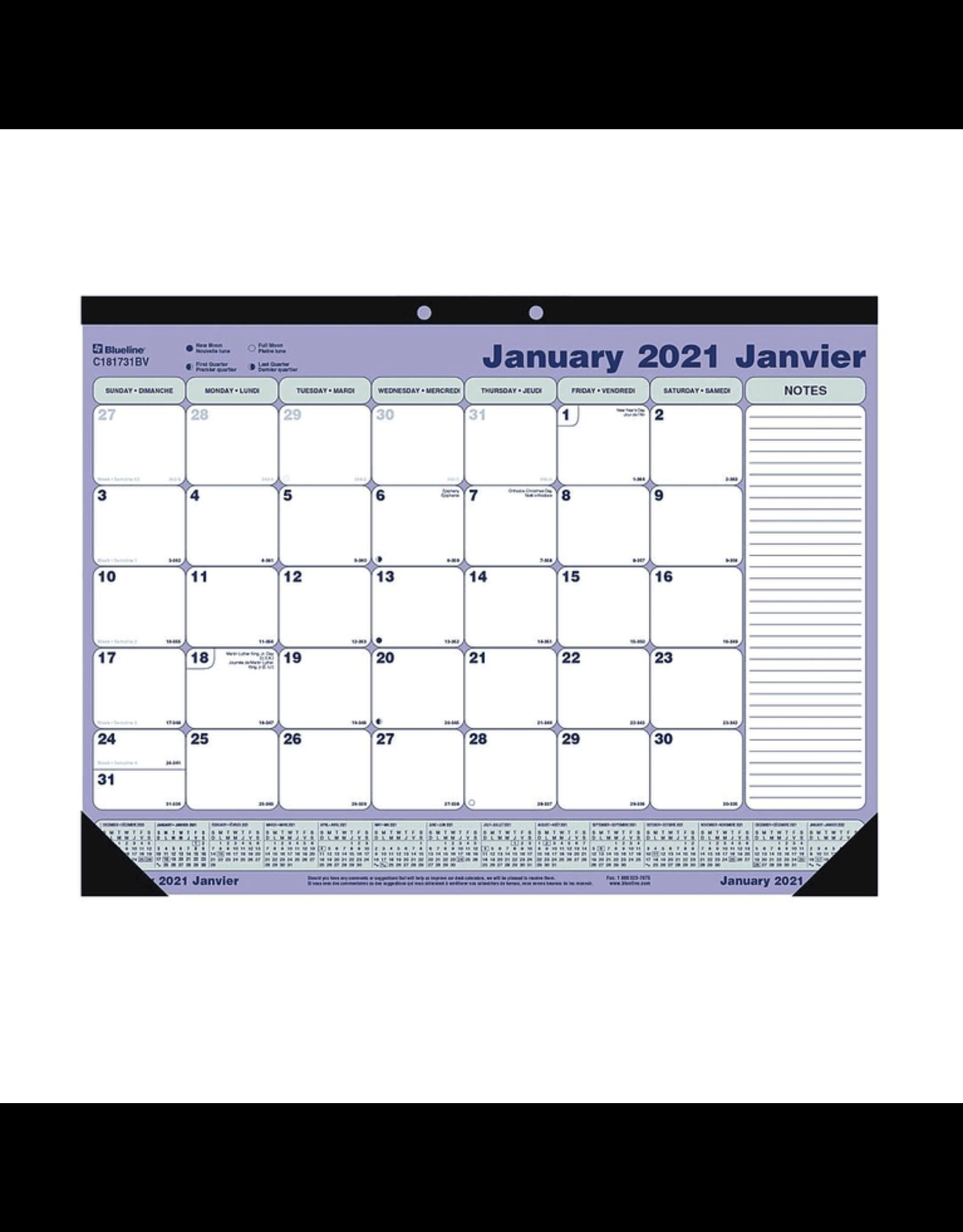 Dominion Blueline Inc. CALENDAR PAD-DESK MONTHLY 21-1/4X16 BILINGUAL  2021
