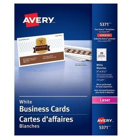 Avery BUSINESS CARDS-2X3-1/2 WHITE PERFORATED 250/EV