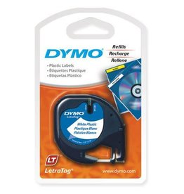 Dymo TAPE-LETRATAG, PLASTIC 12MM, BLACK ON WHITE