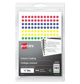 Avery LABELS-COLOUR CODE, 1/4'' DIAMETER, ASSORTED 768/PK