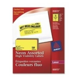 Avery LABELS-HIGH VISIBILITY 2X4 NEON ASSORTED 150/EV