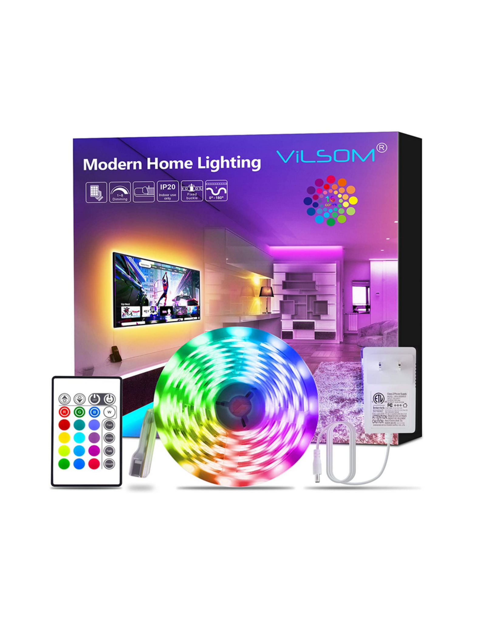 RGB Colored LED Light Strip Kit 16.4ft with Remote & 12 V Power Supply
