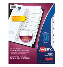 Avery INDEX DIVIDERS-READY INDEX 8-TAB BLACK ON WHITE