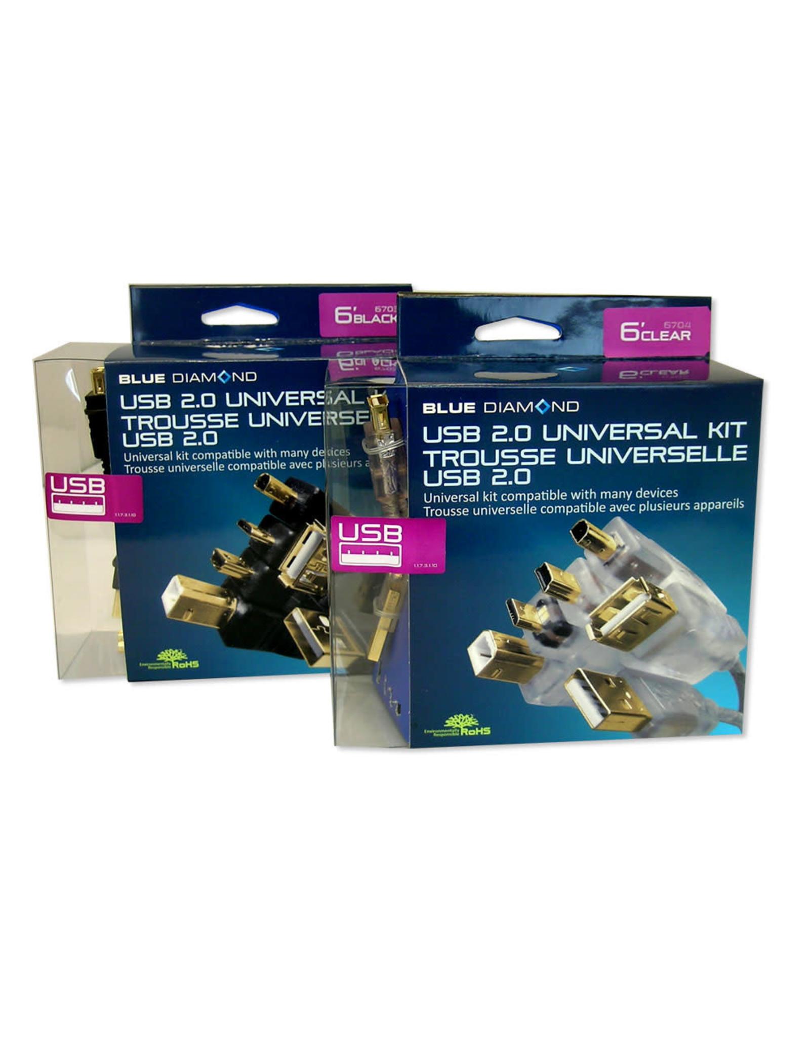BlueDiamond BlueDiamond USB 2.0 Multi End Adapter Cable Black, 6ft