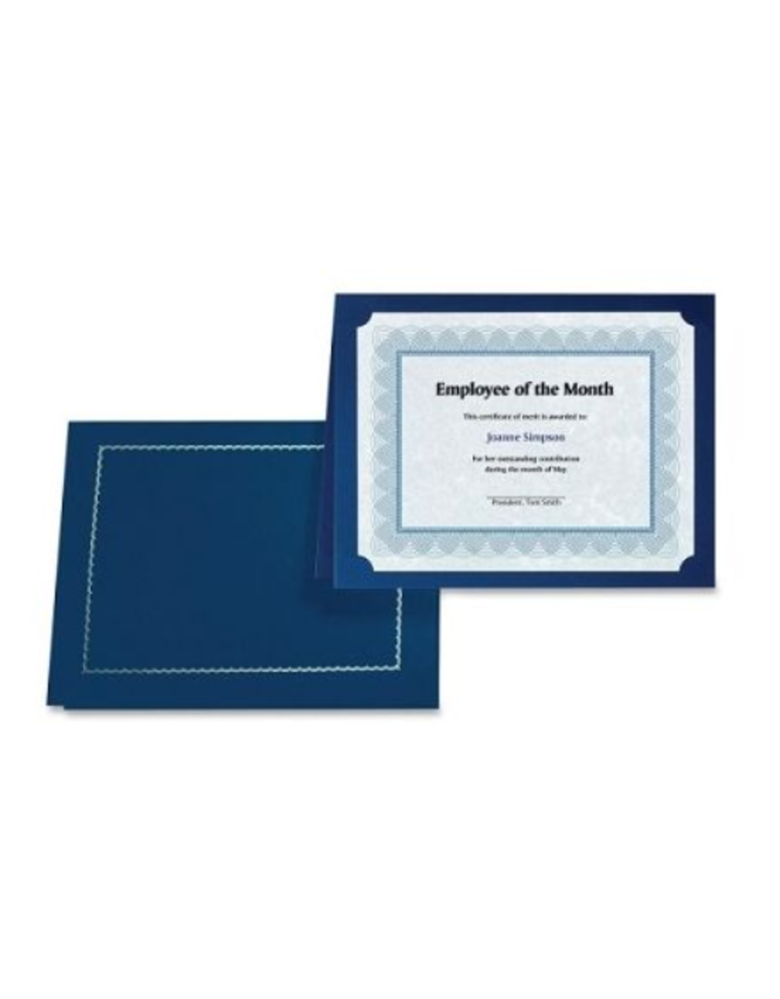 First Base Inc. CERTIFICATE HOLDER-CLASSIC LINEN WITH GOLD FOIL, NAVY BLUE