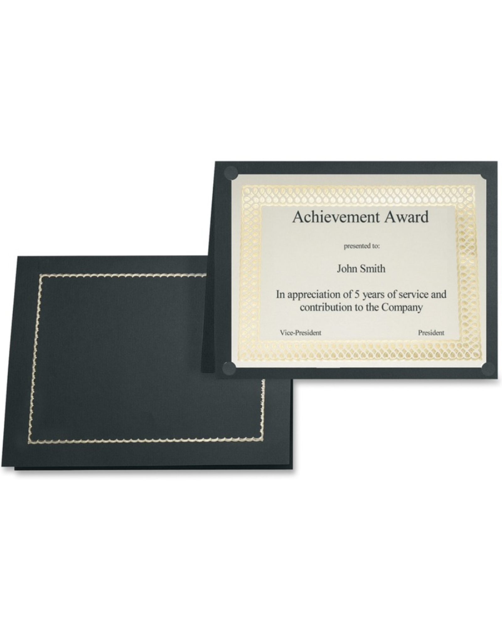First Base Inc. CERTIFICATE HOLDER-CLASSIC LINEN WITH GOLD FOIL, BLACK