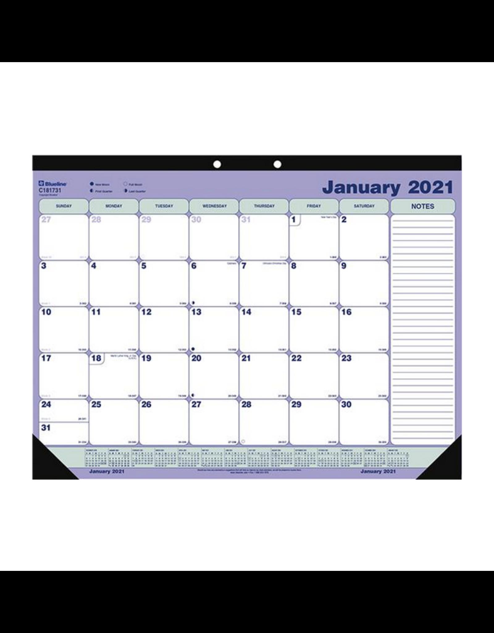 Blueline CALENDAR PAD-DESK MONTHLY 21-1/4X16 ENGLISH  2021