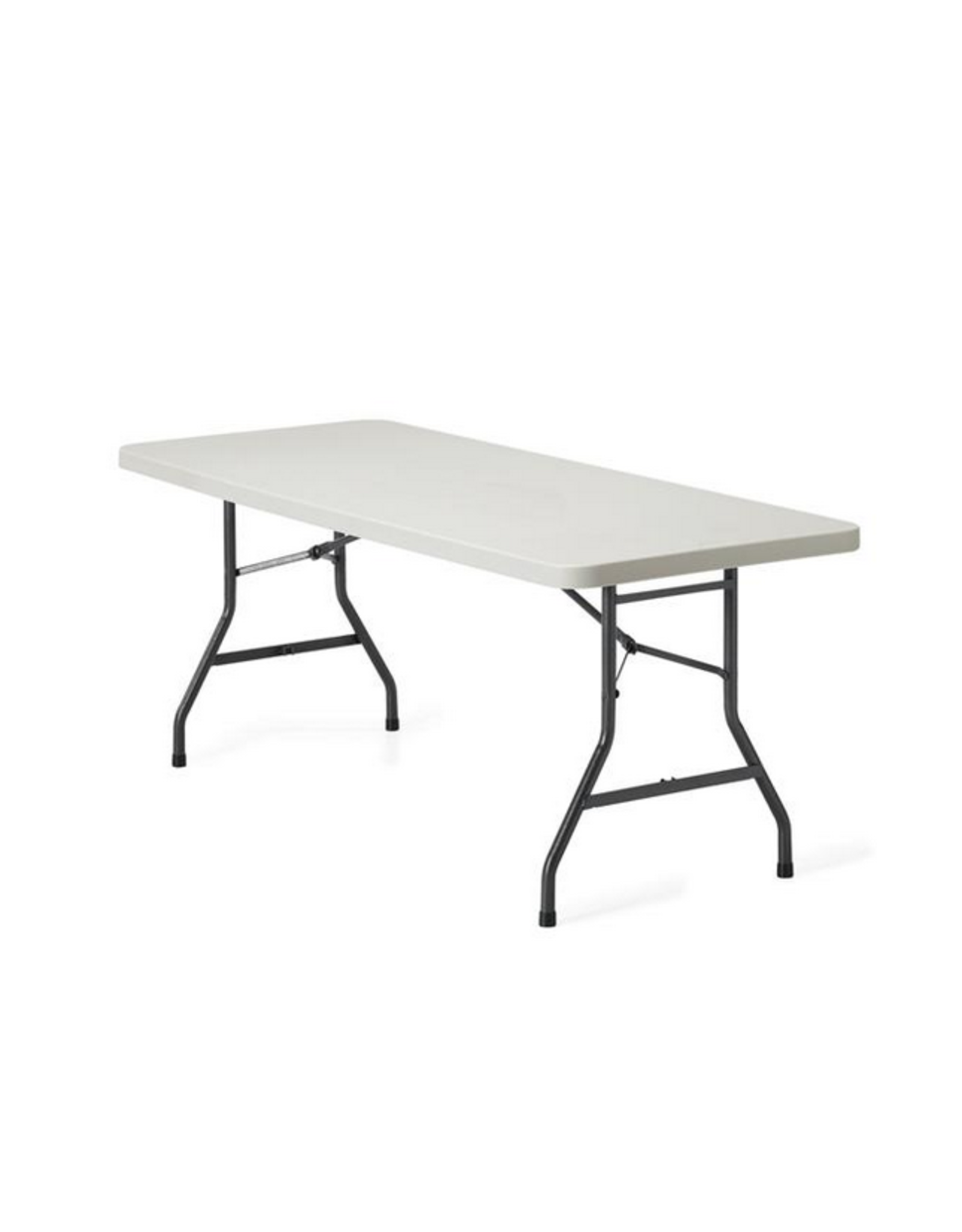 "GLOBAL OFFICE Global Offices To Go, Lite-Lift II Folding Rectangular Table, Plastic and Steel, Oyster Grey, 72""W x 30""D x 29 1/4""H"
