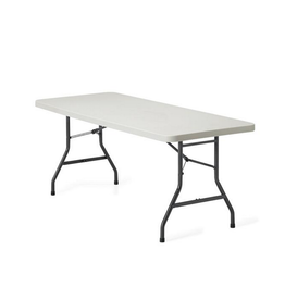 """GLOBAL OFFICE Global Offices To Go, Lite-Lift II Folding Rectangular Table, Plastic and Steel, Oyster Grey, 72""""W x 30""""D x 29 1/4""""H"""