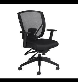 Global Express Global Offices To Go, Ibex, Upholstered Seat & Mesh Back Multi-Tilter, Black