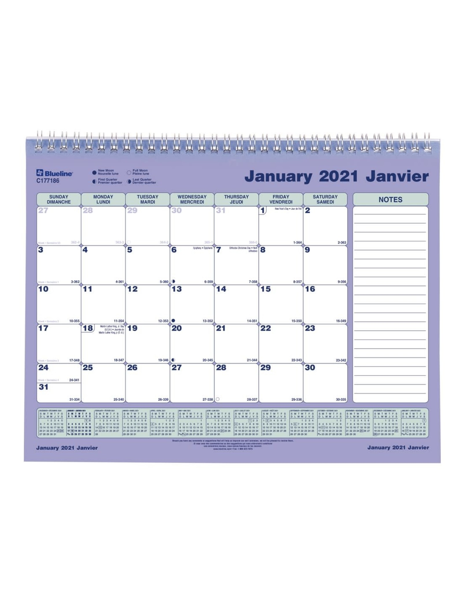 "Blueline Blueline, Monthly Wall Calendar, Twin Wire Bound, Bilingual, 11"" x 8 1/2"""