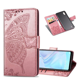 Samsung Galaxy A10 PU Leather Flip Wallet Case, Butterfly Rose Gold