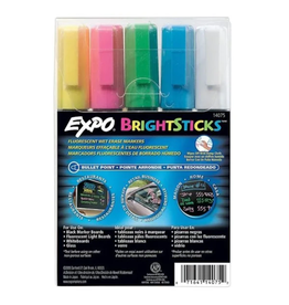 Expo MARKER SET-WET ERASE, EXPO BRIGHT STICKS, BULLET, 5 ASSORTED