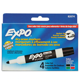 Expo MARKER SET-DRY ERASE, EXPO LOW ODOUR, BULLET 4-COLOUR