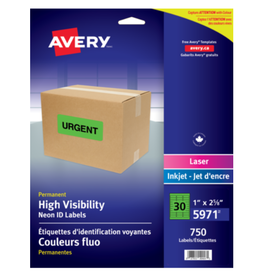 Avery LABELS-HIGH VISIBILITY 1X2-5/8 NEON GREEN 750/PACK