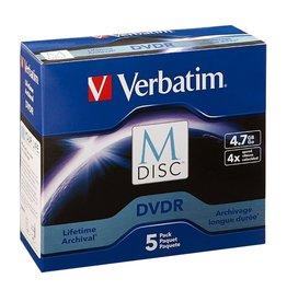 Verbatim DVD+R 5-PIECE M-DISC, 4X 4.7GB, JEWELED CASE 5/PK