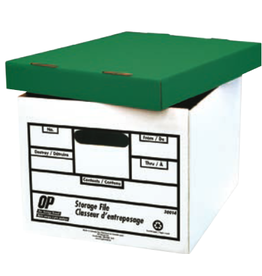 OP Brand FILE BOX-LETTER/LEGAL, WHITE/GREEN LID, OP BRAND, 6/PACK